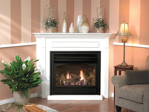 Awesome Stone Fireplace with White Mantle